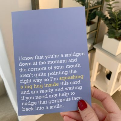 For someone who needs a hug through the post right now. This hug card is perfect for anyone dealing with any challenge life has thrown at them.