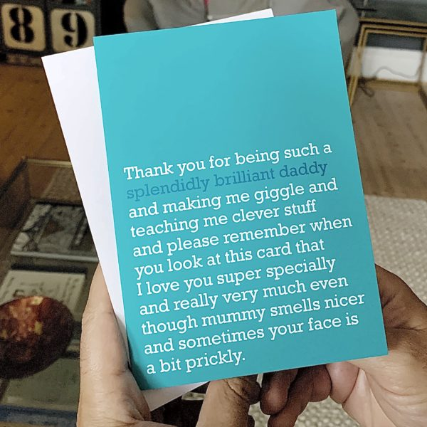 A card for a Splendidly Brilliant Daddy. A Father's Day Card for children to give to their Dad